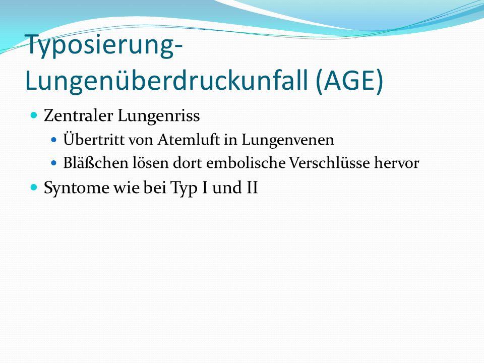 Typosierung- Lungenüberdruckunfall (AGE) Zentraler Lungenriss Übertritt von Atemluft in Lungenvenen Bläßchen lösen dort embolische Verschlüsse hervor