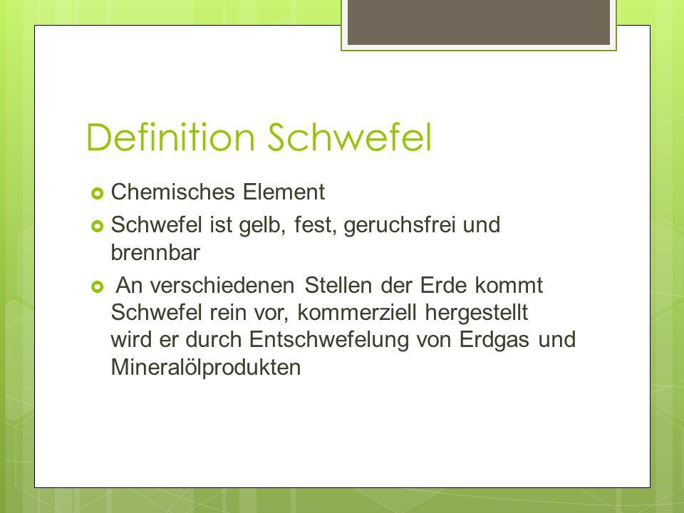 Definition Entschwefelung Entschwefelung ist: das Entfernen von Schwefel und Schwefelverbindungen aus Mineralölprodukten mittels spezieller Katalysatoren und Wasserstoff erforderlich, weil viele Katalysatoren, die bei der chemischen Weiterverarbeitung von Mineralölprodukten verwendet werden, durch Schwefelverbindungen vergiftet werden Darüber hinaus bildet sich bei Verbrennung schwefelhaltiger Mineralölprodukte Schwefeldioxid, was ein großes Umweltproblem darstellt