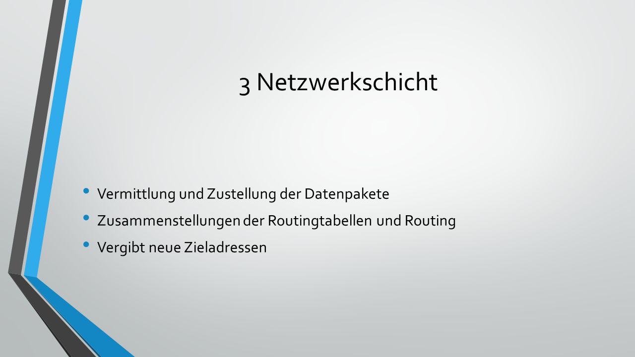 3 Netzwerkschicht Vermittlung und Zustellung der Datenpakete Zusammenstellungen der Routingtabellen und Routing Vergibt neue Zieladressen