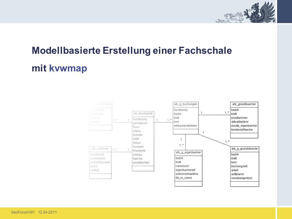 GeoForum MV 12.04.2011 Modellbasierte Erstellung einer Fachschale mit kvwmap