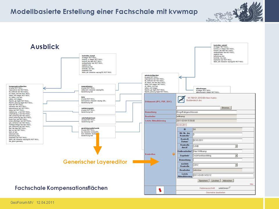 GeoForum MV 12.04.2011 Ausblick Modellbasierte Erstellung einer Fachschale mit kvwmap Fachschale Kompensationsflächen Generischer Layereditor