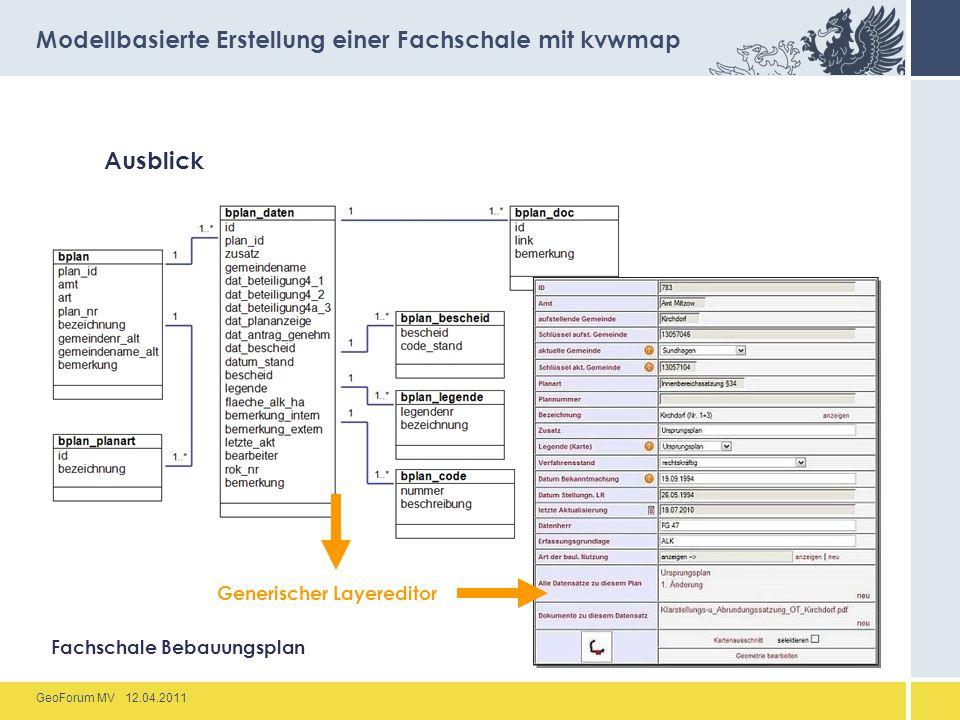 GeoForum MV 12.04.2011 Ausblick Modellbasierte Erstellung einer Fachschale mit kvwmap Fachschale Bebauungsplan Generischer Layereditor