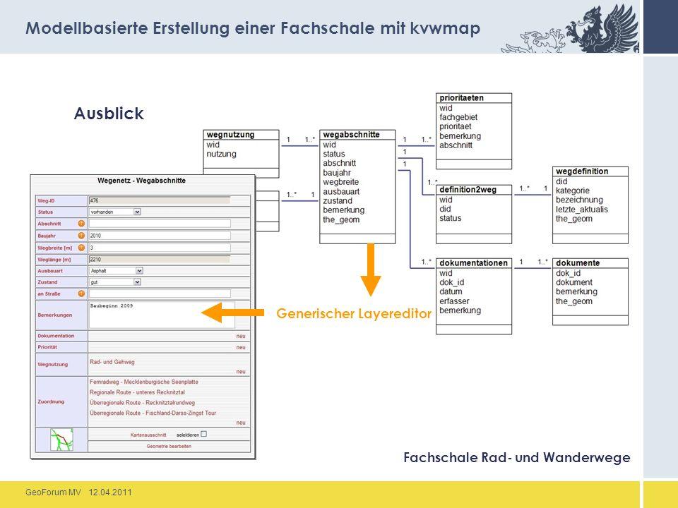 GeoForum MV 12.04.2011 Ausblick Modellbasierte Erstellung einer Fachschale mit kvwmap Fachschale Rad- und Wanderwege Generischer Layereditor