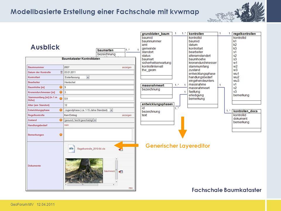 GeoForum MV 12.04.2011 Ausblick Modellbasierte Erstellung einer Fachschale mit kvwmap Fachschale Baumkataster Generischer Layereditor