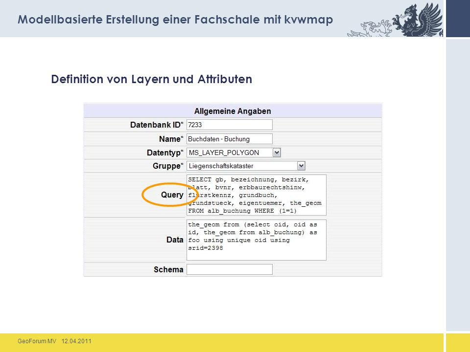 GeoForum MV 12.04.2011 Definition von Layern und Attributen Modellbasierte Erstellung einer Fachschale mit kvwmap