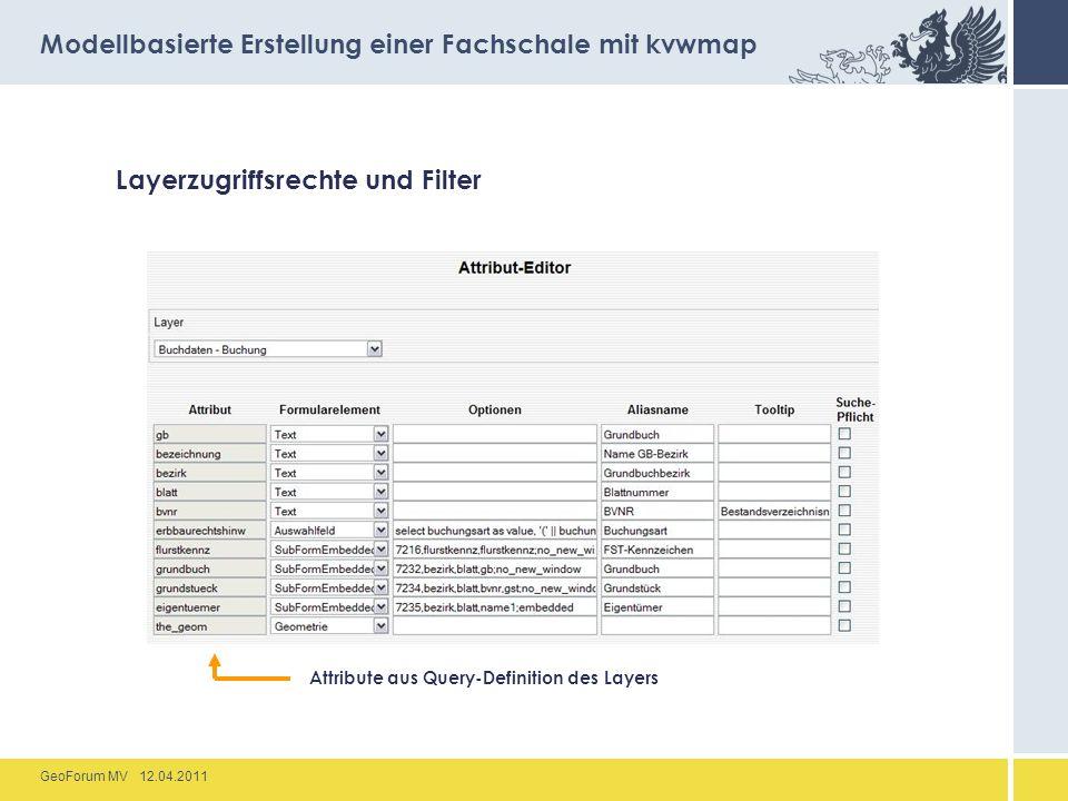 GeoForum MV 12.04.2011 Layerzugriffsrechte und Filter Modellbasierte Erstellung einer Fachschale mit kvwmap Attribute aus Query-Definition des Layers
