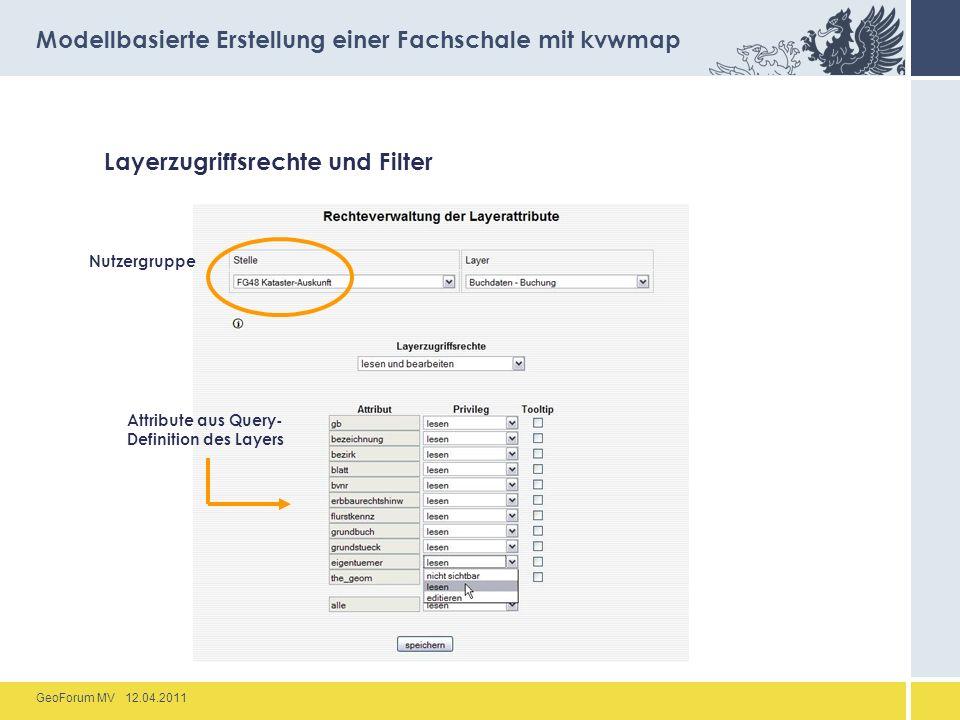 GeoForum MV 12.04.2011 Layerzugriffsrechte und Filter Modellbasierte Erstellung einer Fachschale mit kvwmap Attribute aus Query- Definition des Layers