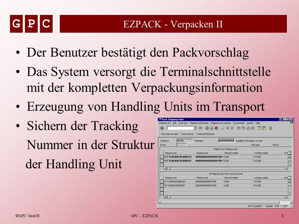GPC GPC GmbH GPC - EZPACK8 EZPACK - Verpacken II Der Benutzer bestätigt den Packvorschlag Das System versorgt die Terminalschnittstelle mit der komple