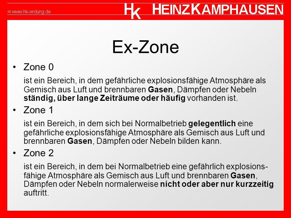 Ex-Zone Zone 0 ist ein Bereich, in dem gefährliche explosionsfähige Atmosphäre als Gemisch aus Luft und brennbaren Gasen, Dämpfen oder Nebeln ständig, über lange Zeiträume oder häufig vorhanden ist.