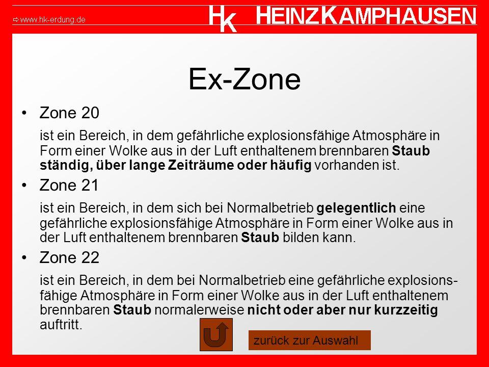 Ex-Zone Zone 20 ist ein Bereich, in dem gefährliche explosionsfähige Atmosphäre in Form einer Wolke aus in der Luft enthaltenem brennbaren Staub ständig, über lange Zeiträume oder häufig vorhanden ist.