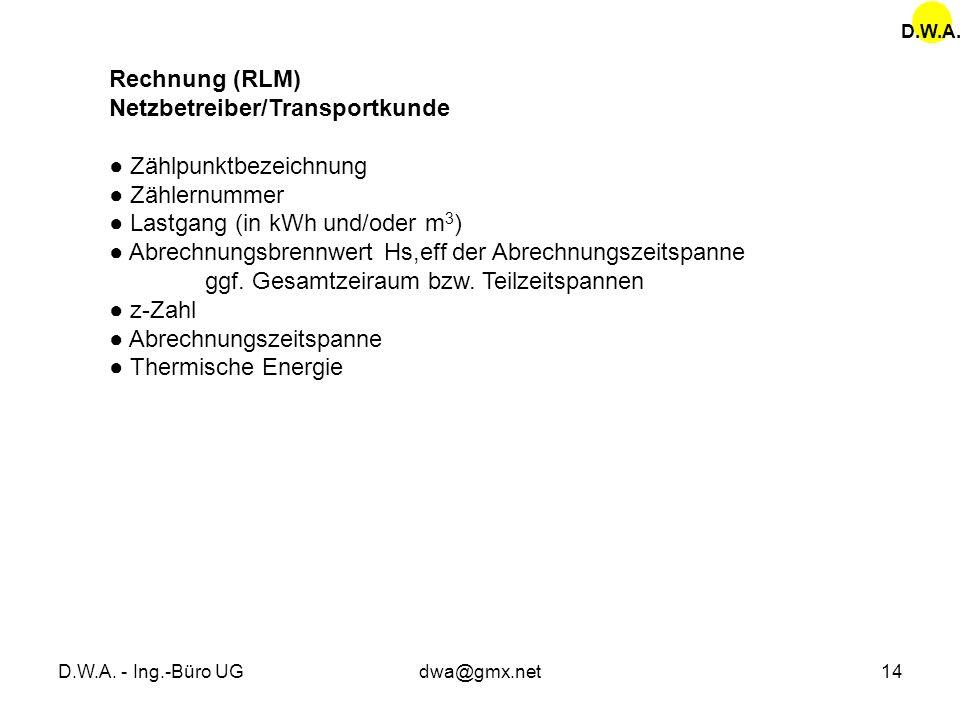 D.W.A. - Ing.-Büro UGdwa@gmx.net14 Rechnung (RLM) Netzbetreiber/Transportkunde Zählpunktbezeichnung Zählernummer Lastgang (in kWh und/oder m 3 ) Abrec