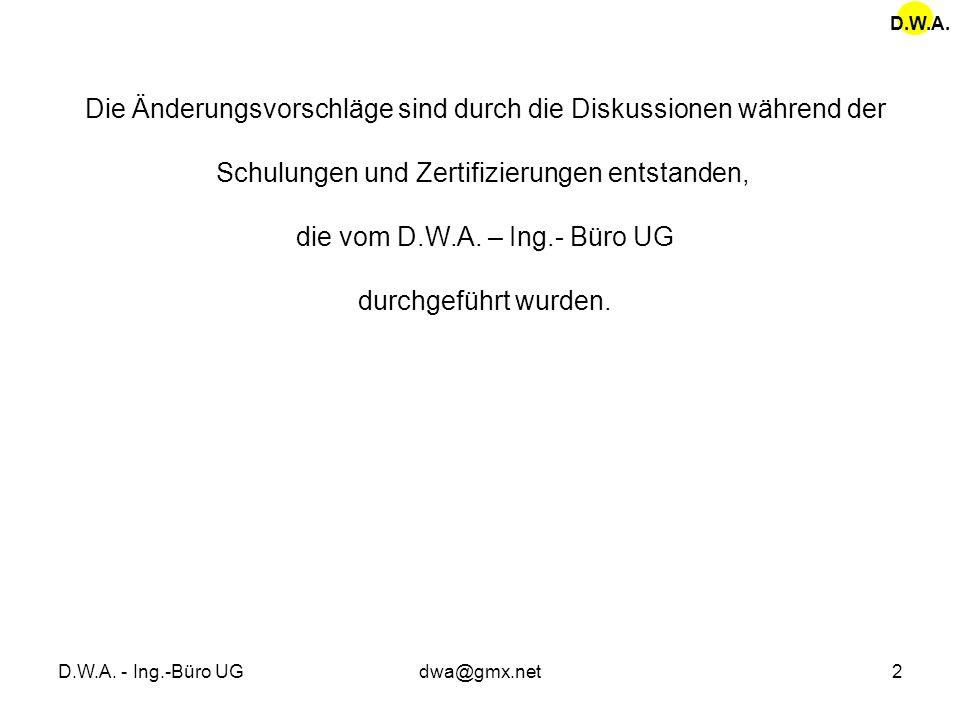 D.W.A. - Ing.-Büro UGdwa@gmx.net2 Die Änderungsvorschläge sind durch die Diskussionen während der Schulungen und Zertifizierungen entstanden, die vom