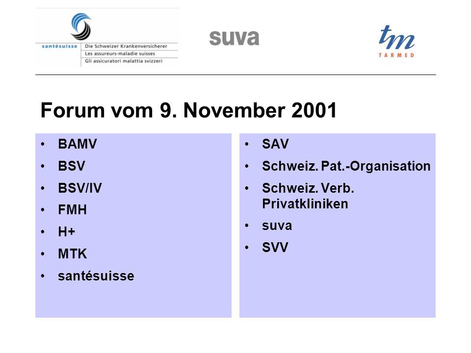 Forum vom 9. November 2001 BAMV BSV BSV/IV FMH H+ MTK santésuisse SAV Schweiz. Pat.-Organisation Schweiz. Verb. Privatkliniken suva SVV