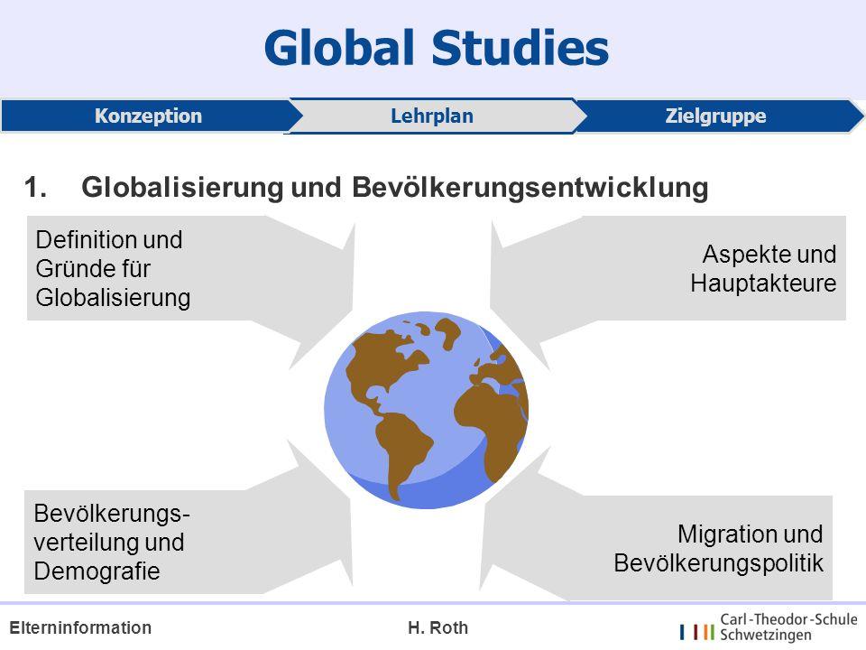 Global Studies ZielgruppeLehrplan Konzeption H. RothElterninformation 1.Globalisierung und Bevölkerungsentwicklung Definition und Gründe für Globalisi
