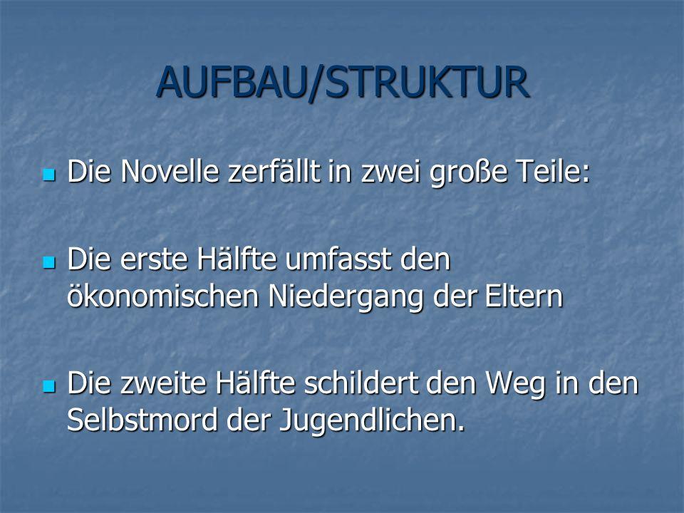 AUFBAU/STRUKTUR Die Novelle zerfällt in zwei große Teile: Die Novelle zerfällt in zwei große Teile: Die erste Hälfte umfasst den ökonomischen Niederga