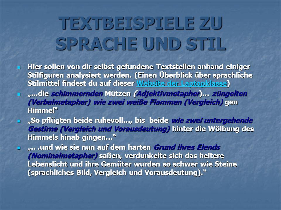 TEXTBEISPIELE ZU SPRACHE UND STIL Hier sollen von dir selbst gefundene Textstellen anhand einiger Stilfiguren analysiert werden. (Einen Überblick über
