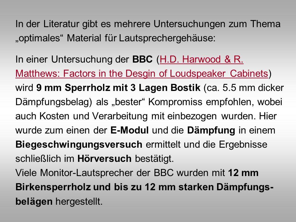 In der Literatur gibt es mehrere Untersuchungen zum Thema optimales Material für Lautsprechergehäuse: In einer Untersuchung der BBC (H.D. Harwood & R.