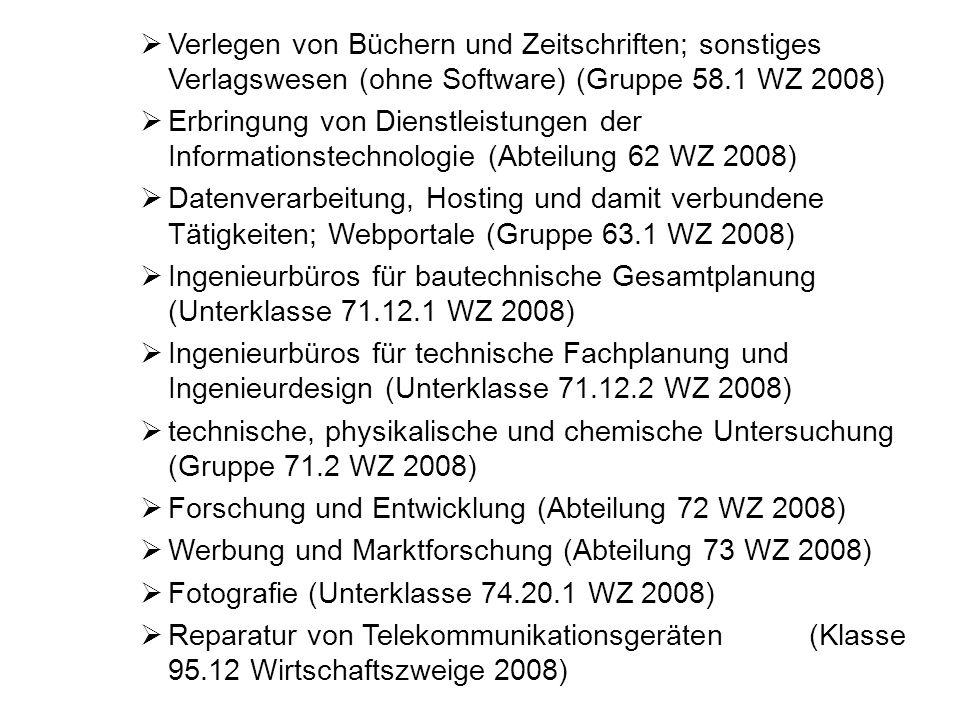 Verlegen von Büchern und Zeitschriften; sonstiges Verlagswesen (ohne Software) (Gruppe 58.1 WZ 2008) Erbringung von Dienstleistungen der Informationst