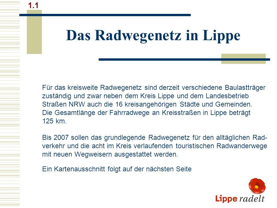 Das Radwegenetz in Lippe 1.1 Für das kreisweite Radwegenetz sind derzeit verschiedene Baulastträger zuständig und zwar neben dem Kreis Lippe und dem Landesbetrieb Straßen NRW auch die 16 kreisangehörigen Städte und Gemeinden.