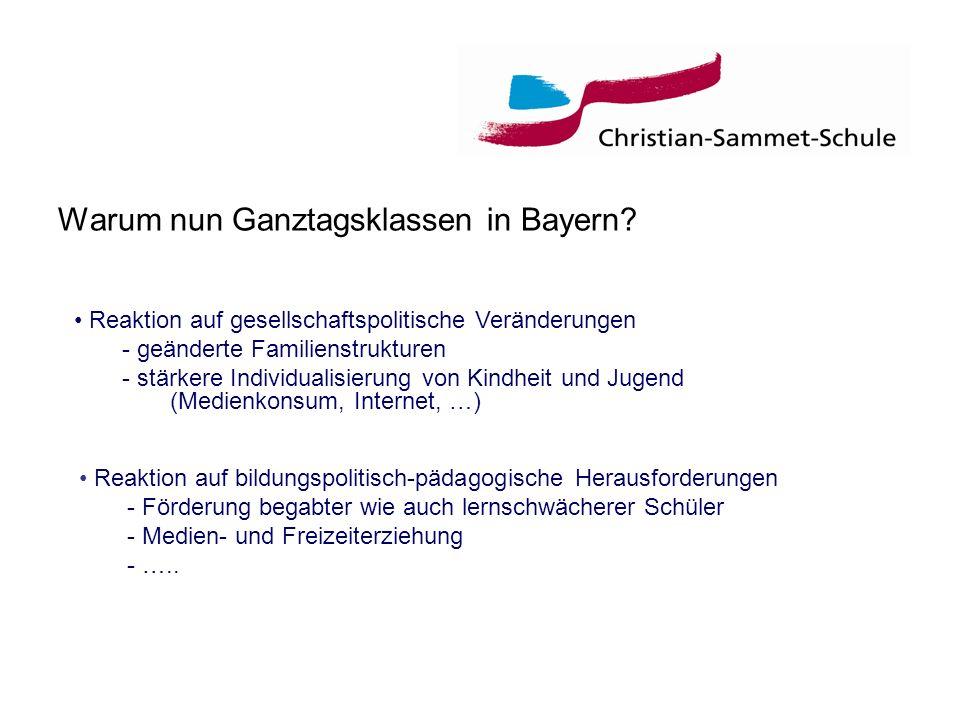 Warum nun Ganztagsklassen in Bayern? Reaktion auf bildungspolitisch-pädagogische Herausforderungen - Förderung begabter wie auch lernschwächerer Schül