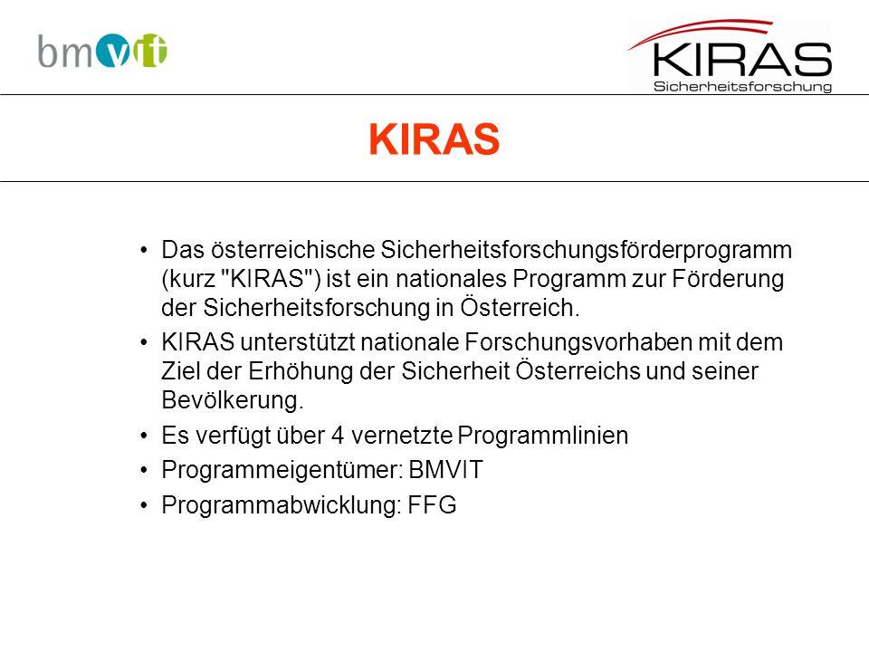 KIRAS Das österreichische Sicherheitsforschungsförderprogramm (kurz KIRAS ) ist ein nationales Programm zur Förderung der Sicherheitsforschung in Österreich.
