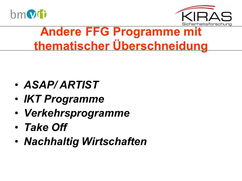 Andere FFG Programme mit thematischer Überschneidung ASAP/ ARTIST IKT Programme Verkehrsprogramme Take Off Nachhaltig Wirtschaften