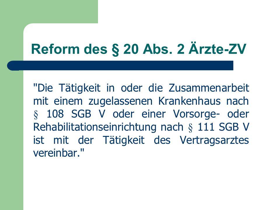 Reform des § 20 Abs.