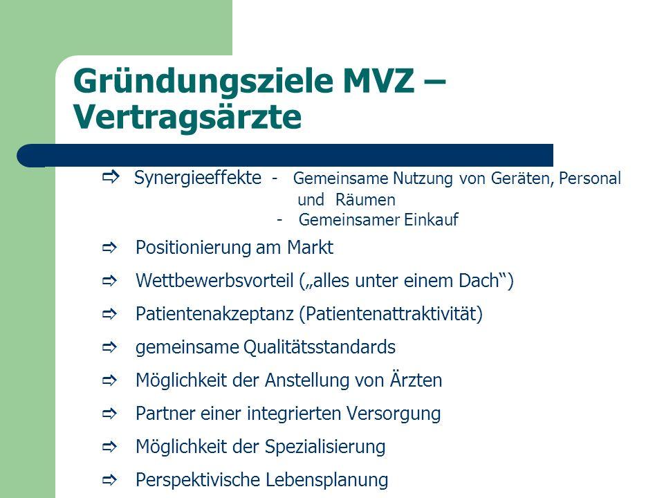 Gründungsziele MVZ – Vertragsärzte Synergieeffekte - Gemeinsame Nutzung von Geräten, Personal und Räumen - Gemeinsamer Einkauf Positionierung am Markt