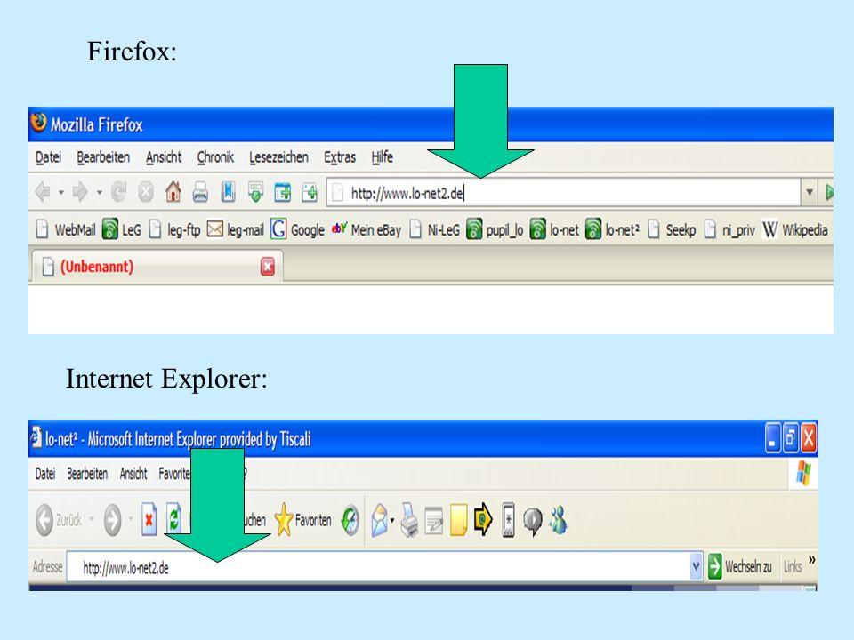 Du klickst im jetzt folgenden Fenster login an und gibst deinen Benutzernamen aus der Liste ein: (Bsp.: Beispiel.Anna@leg-uelzen.ni.lo-net2.de) (keine Sonderzeichen verwenden: ä=ae; ö=oe; ü=ue; ß=ss )Beispiel.Anna@leg-uelzen.ni.lo-net2.de