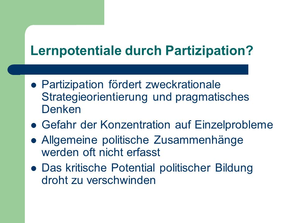 Lernpotentiale durch Partizipation.
