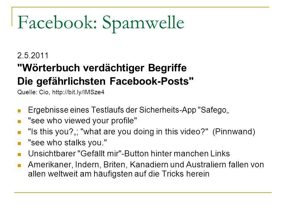 Facebook: Spamwelle 2.5.2011