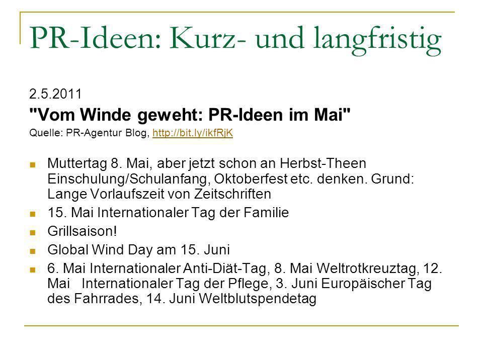 PR-Ideen: Kurz- und langfristig 2.5.2011