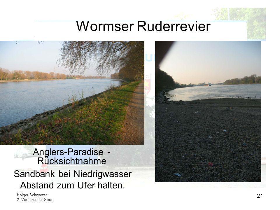 Holger Schwarzer 2. Vorsitzender Sport 21 Wormser Ruderrevier Sandbank bei Niedrigwasser Abstand zum Ufer halten. Anglers-Paradise - Rücksichtnahme