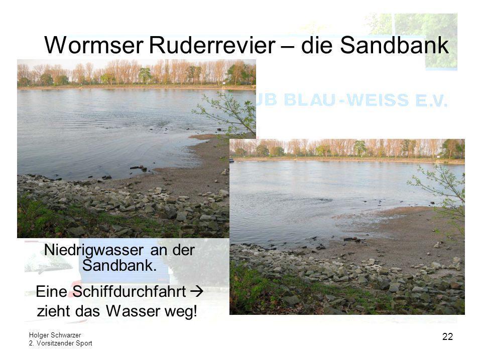 Holger Schwarzer 2. Vorsitzender Sport 22 Wormser Ruderrevier – die Sandbank Eine Schiffdurchfahrt zieht das Wasser weg! Niedrigwasser an der Sandbank