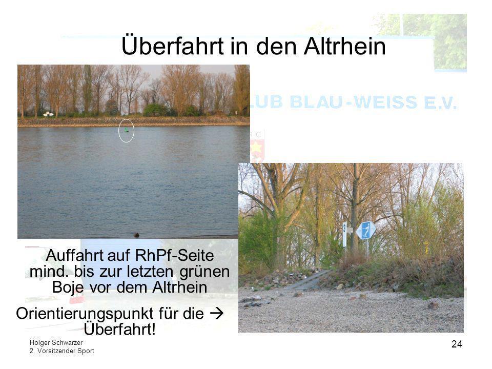Holger Schwarzer 2. Vorsitzender Sport 24 Überfahrt in den Altrhein Orientierungspunkt für die Überfahrt! Auffahrt auf RhPf-Seite mind. bis zur letzte