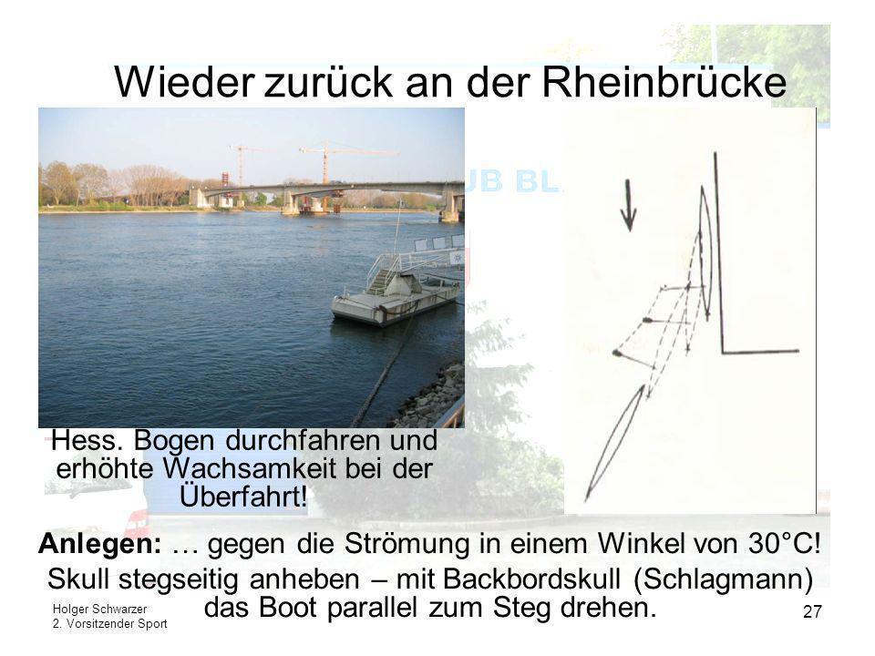 Holger Schwarzer 2. Vorsitzender Sport 27 Wieder zurück an der Rheinbrücke Anlegen: … gegen die Strömung in einem Winkel von 30°C! Skull stegseitig an