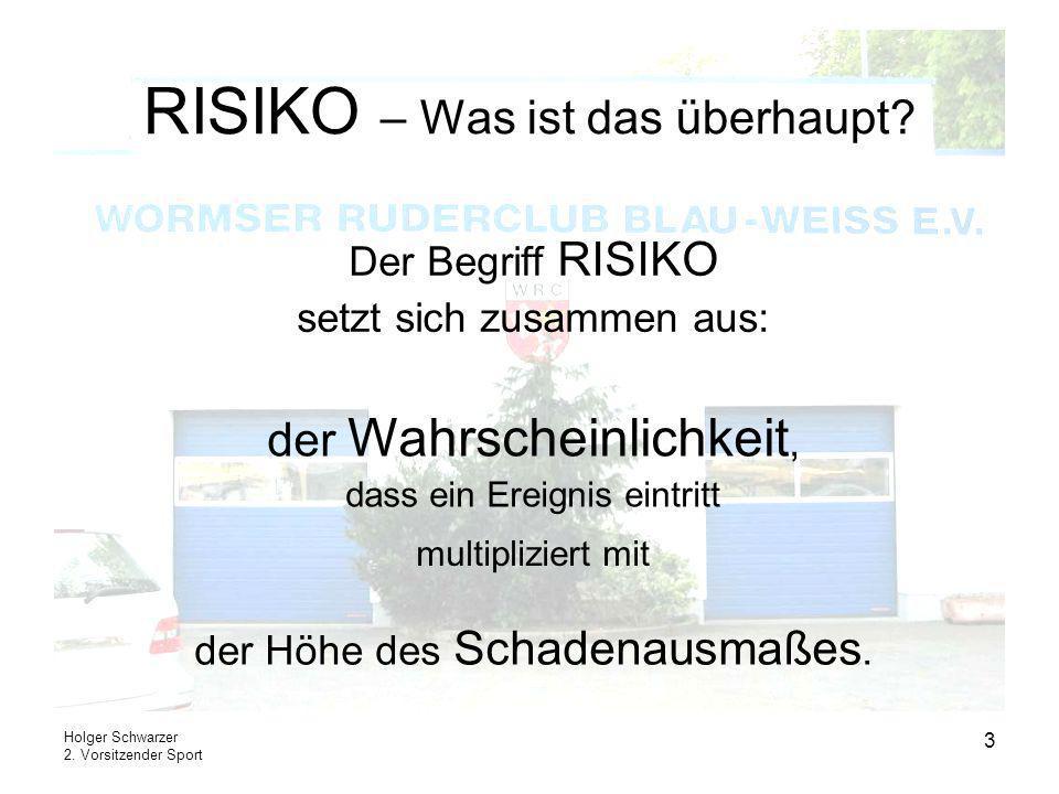 Holger Schwarzer 2. Vorsitzender Sport 3 RISIKO – Was ist das überhaupt? Der Begriff RISIKO setzt sich zusammen aus: der Wahrscheinlichkeit, dass ein