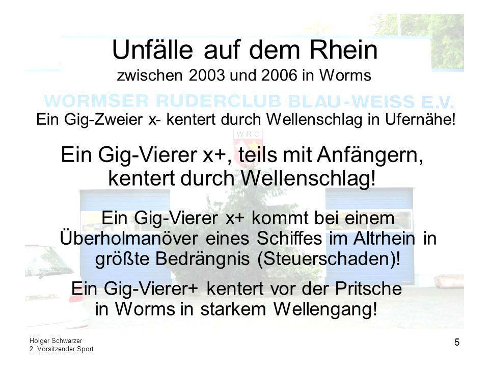 Holger Schwarzer 2. Vorsitzender Sport 5 Unfälle auf dem Rhein zwischen 2003 und 2006 in Worms Ein Gig-Zweier x- kentert durch Wellenschlag in Ufernäh