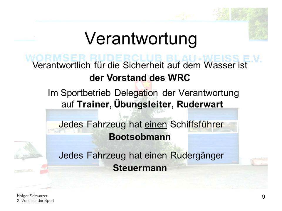 Holger Schwarzer 2. Vorsitzender Sport 9 Verantwortung Im Sportbetrieb Delegation der Verantwortung auf Trainer, Übungsleiter, Ruderwart Verantwortlic