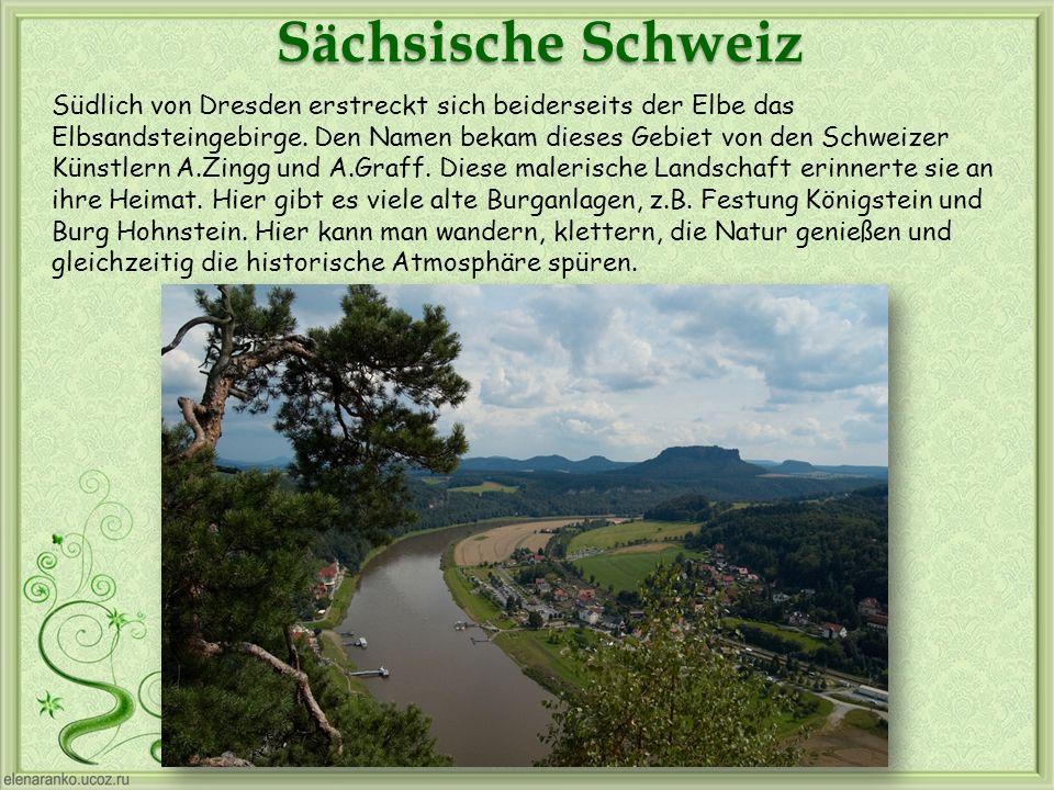 Sächsische Schweiz Südlich von Dresden erstreckt sich beiderseits der Elbe das Elbsandsteingebirge. Den Namen bekam dieses Gebiet von den Schweizer Kü