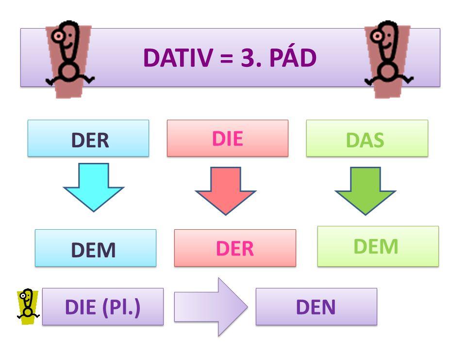 DATIV = 3. PÁD DIE DERDAS DER DEM DIE (Pl.) DEN