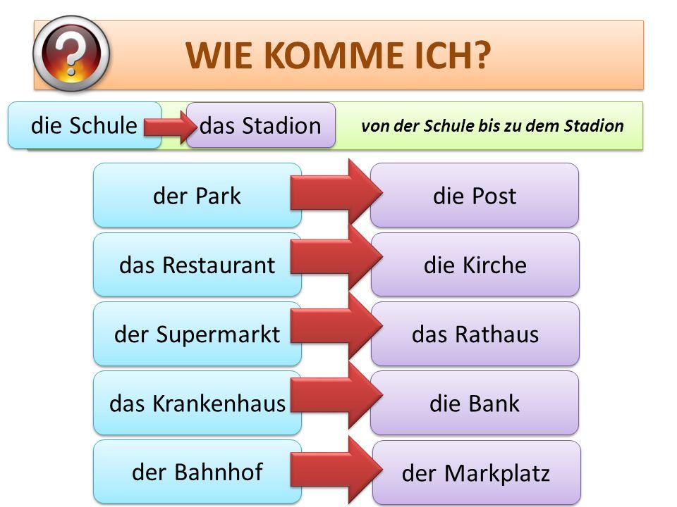 WIE KOMME ICH? der Park das Restaurant der Supermarkt das Krankenhaus der Bahnhof die Post die Kirche das Rathaus die Bank der Markplatz von der Schul