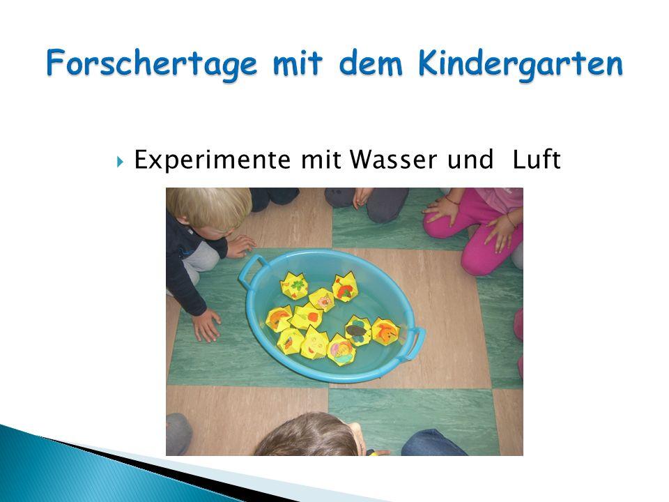 Experimente mit Wasser und Luft