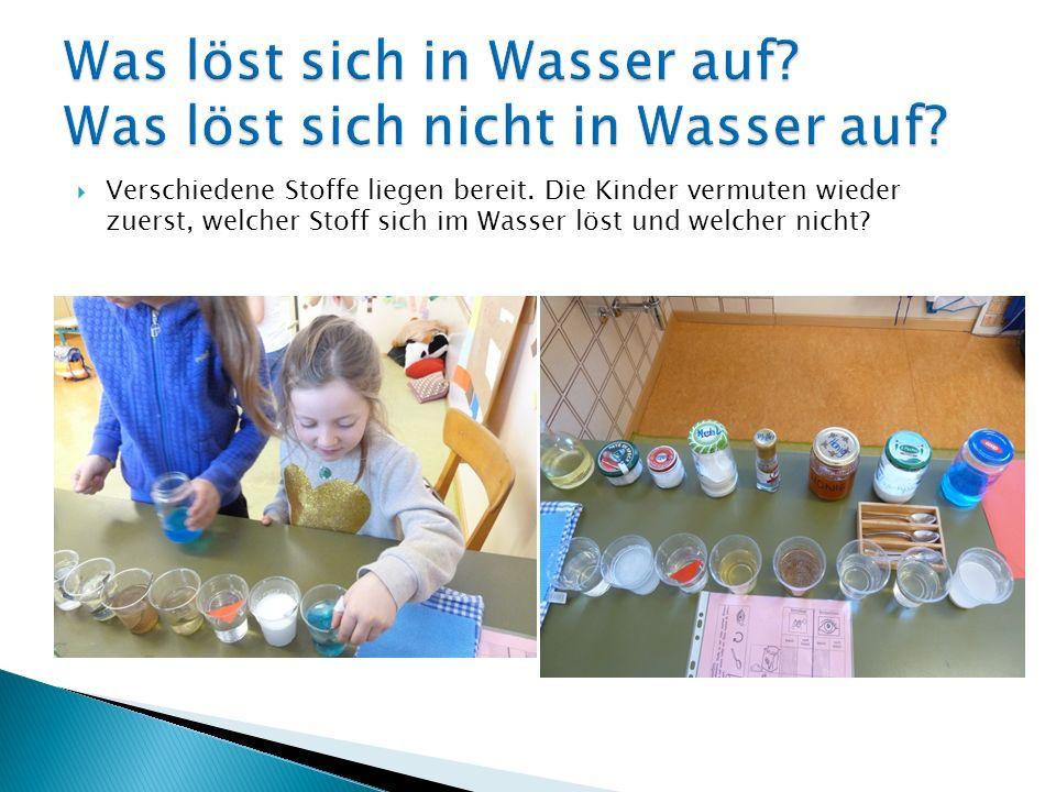 Verschiedene Stoffe liegen bereit. Die Kinder vermuten wieder zuerst, welcher Stoff sich im Wasser löst und welcher nicht?