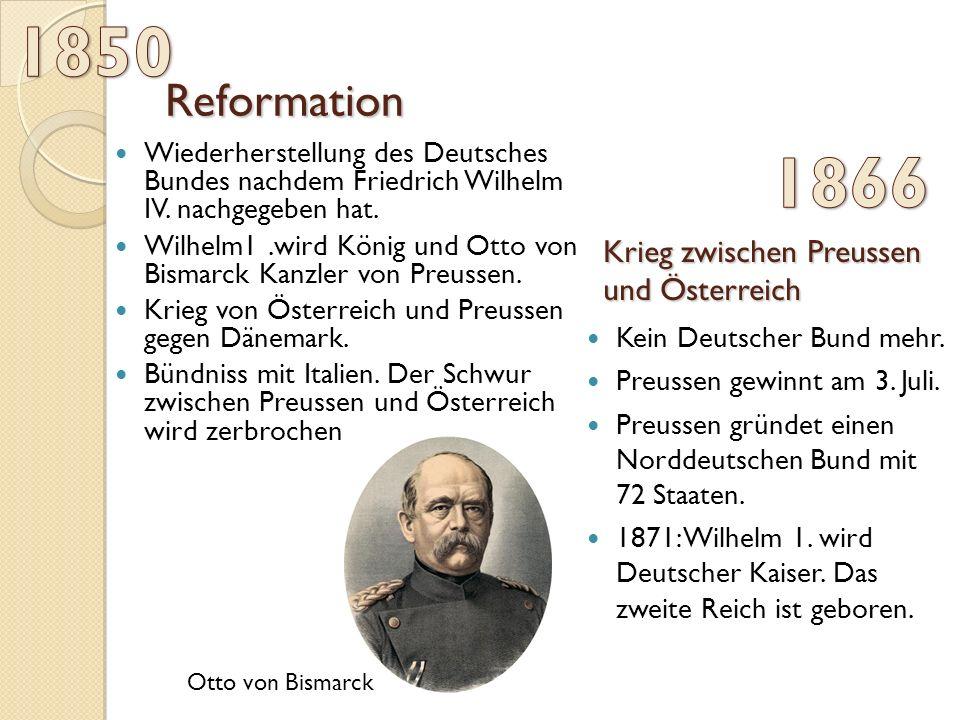 Reformation Wiederherstellung des Deutsches Bundes nachdem Friedrich Wilhelm IV.