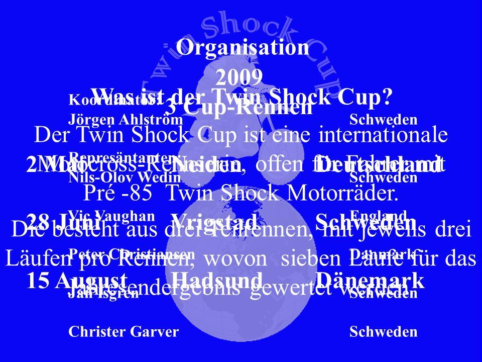 Deutsch REGLEMENT TWIN SHOCK CUP, TSC Version 2009 ARTIKEL 1Zielsetzung Klassische Rennmotorräder so original wie möglich instandzusetzen und zu erhalten und damit Rennen zu fahren, wie es in der damaligen Zeit üblich war.