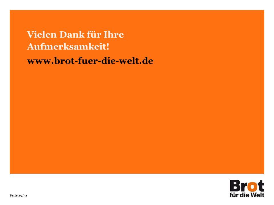 Seite 29/31 Vielen Dank für Ihre Aufmerksamkeit! www.brot-fuer-die-welt.de