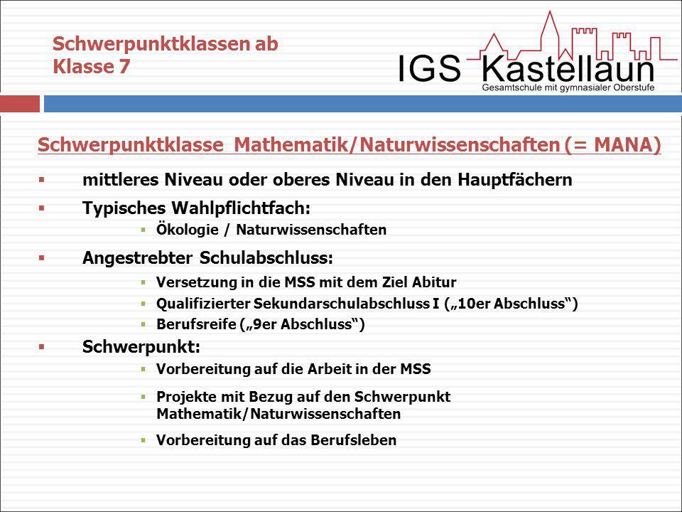 Schwerpunktklasse Mathematik/Naturwissenschaften (= MANA) mittleres Niveau oder oberes Niveau in den Hauptfächern Typisches Wahlpflichtfach: Ökologie