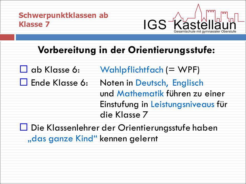 Schwerpunktklassen ab Klasse 7 Vorbereitung in der Orientierungsstufe: ab Klasse 6: Wahlpflichtfach (= WPF) Ende Klasse 6: Noten in Deutsch, Englisch