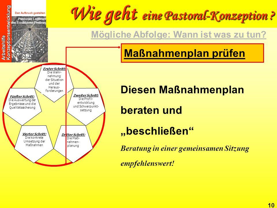 Den Aufbruch gestalten Pastorale Leitlinien der Erzdiözese Freiburg Arbeitshilfe Konzeptionsentwicklung 10 Diesen Maßnahmenplan beraten und beschließe